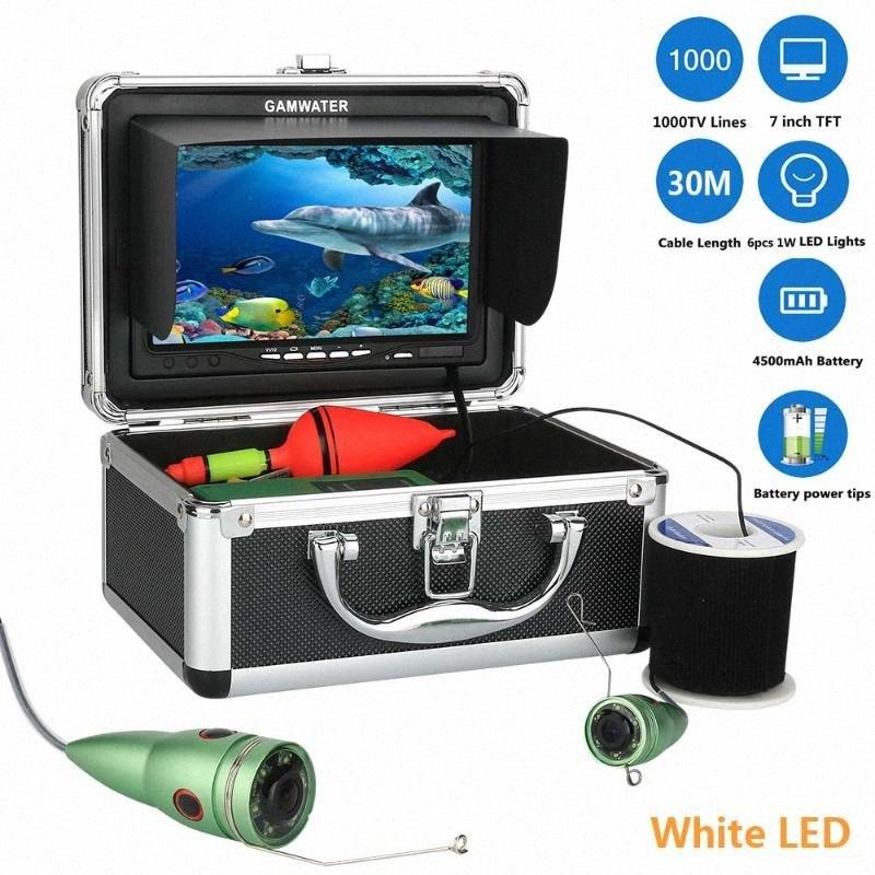 GAMWATER 7 polegadas HD Underwater Pesca Video Camera Kit 6pcs 1W LEDs brancos Luzes Vídeo Fish Finder ICE Pesca ICQF #