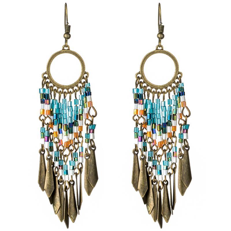 brincos de franja longos vintage para mulheres jóias Boho colorido de resina cristal preto pingente de borla brinco étnico presente brincos gota