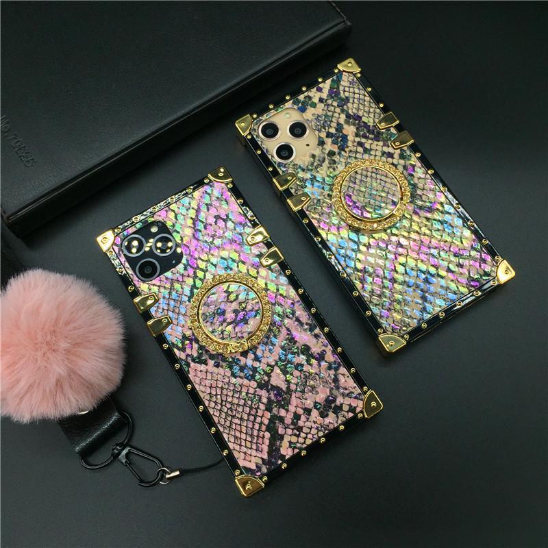 Moda Glitter Renkli Yılan Kapak Kare Telefon Kılıfı Için Huawei P30 Pro P20 P40 Mate 30 Onur 20 V30 8X 10 NOVA 5 3 6 Y6 Y7 Y9