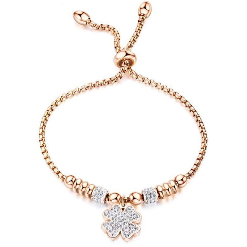 LAN Set pulseira de aço broca de titânio com pulseira cor de ouro rosa pode ser ajustado para as mulheres transporte livre