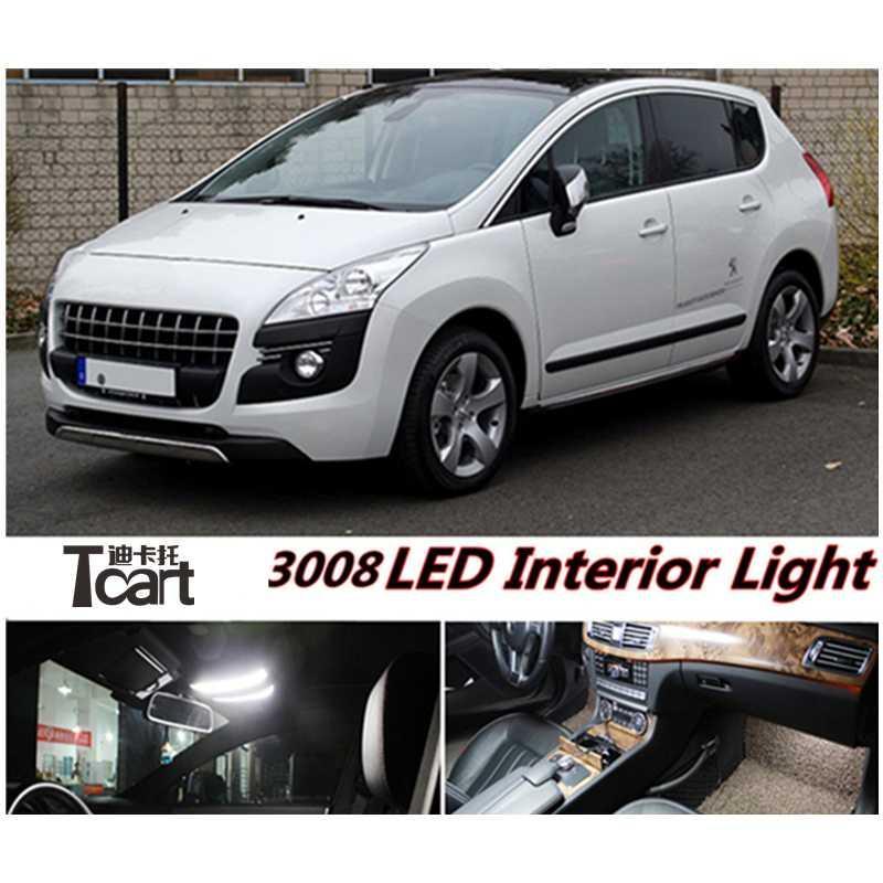 Tcart 7pcs Frente Car Mapa lâmpada Tronco lâmpada traseira do carro Dome luz LED Interior Luz Kit para 3008 2008-2020 ano