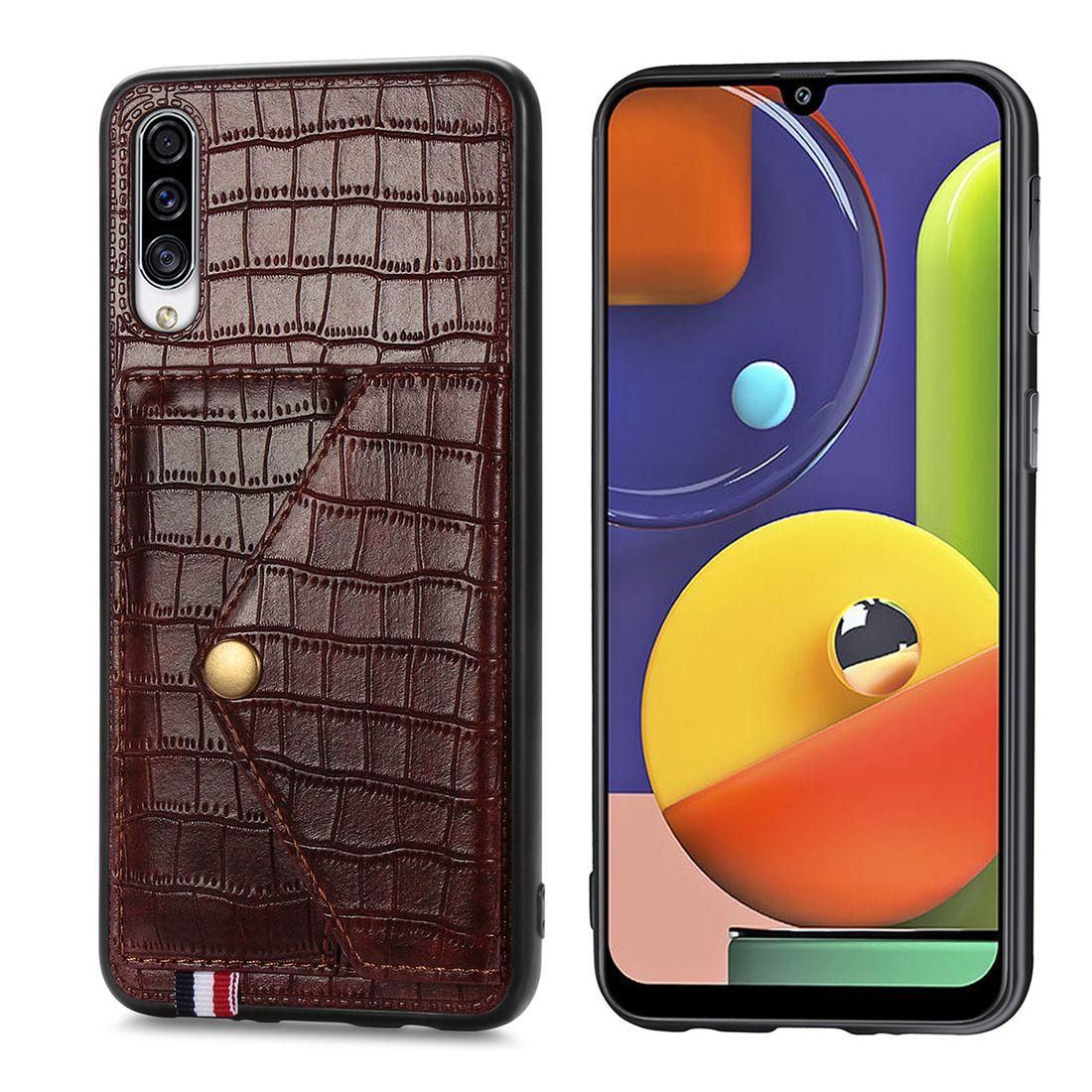Pour Samsung A30S Téléphone Stripe Surface Stripe avec Papier Money Card Slot Stockage Bouton Metal (Modèle: A30S)