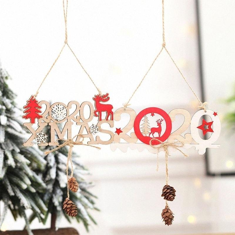 Pingente de madeira para 3d 2020 Árvore de Natal Xmas Ornamento de suspensão decoração Home Prvl #