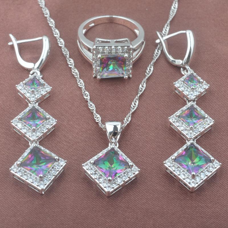 Kadınlar Düğün Gümüş Renk Yüzük Kolye Ve Küpe Seti TZ0580 İçin Klasik Kare Çok renkli Gökkuşağı Zirkonyum Takı Setleri