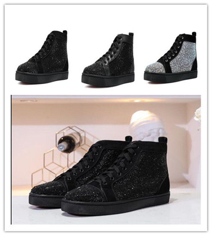 homens marca sapatos casuais moda high top homem vermelho mulheres sapatilha diamantes outdoot luxo homens mulheres apartamentos sapatos bottoms formadores Unsex 38-46