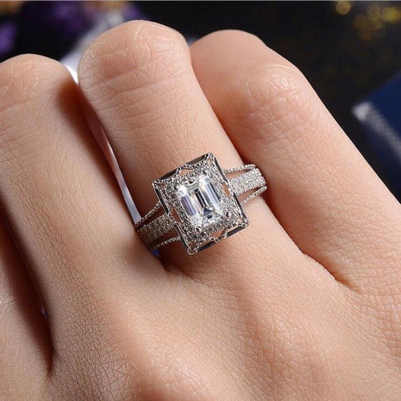 Перевозка груза падения Роскошные ювелирные изделия стерлингового серебра 925 Princess Cut белый топаз CZ Алмазный Бриллиантовые Вечность женщин Свадебные кольца подарков