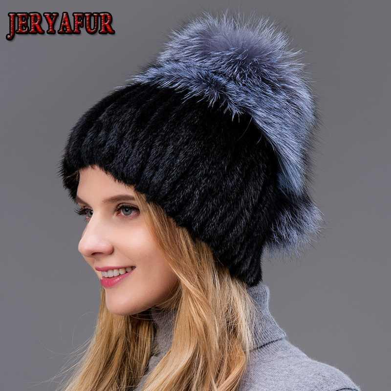 JERYAFUR Frauen Pelzmützen für den Winter echte Kappe mit silbernen Fell Pompons gestrickt Beanies neue Hüte Verkauf Kappe