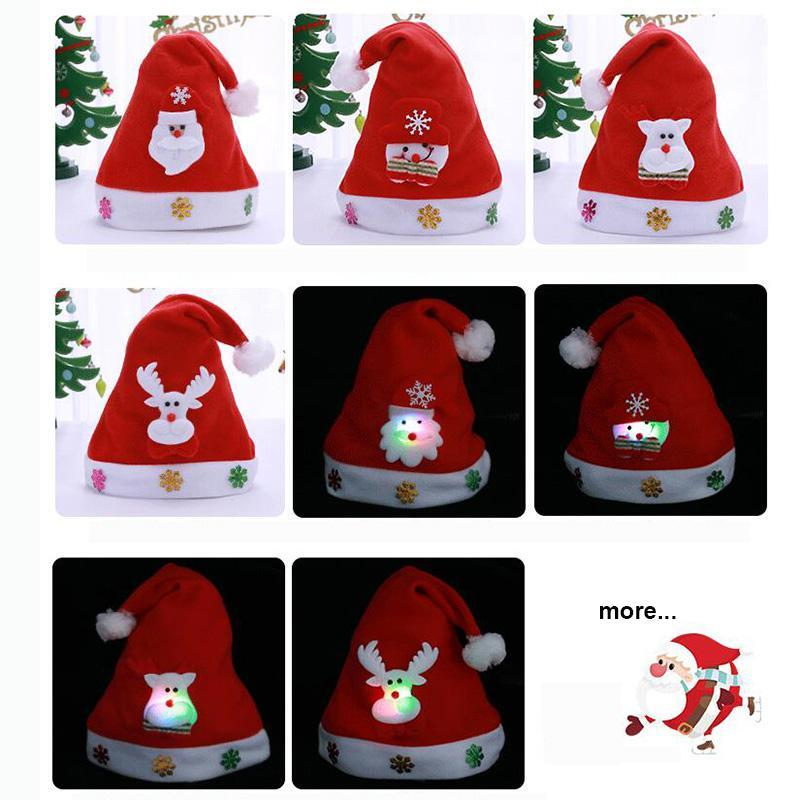 Накаляет Красный Санта-Клаус Hat Ультра мягкий плюш Рождество Косплей шапки Рождественские украшения взрослых Рождественская вечеринка Шляпы