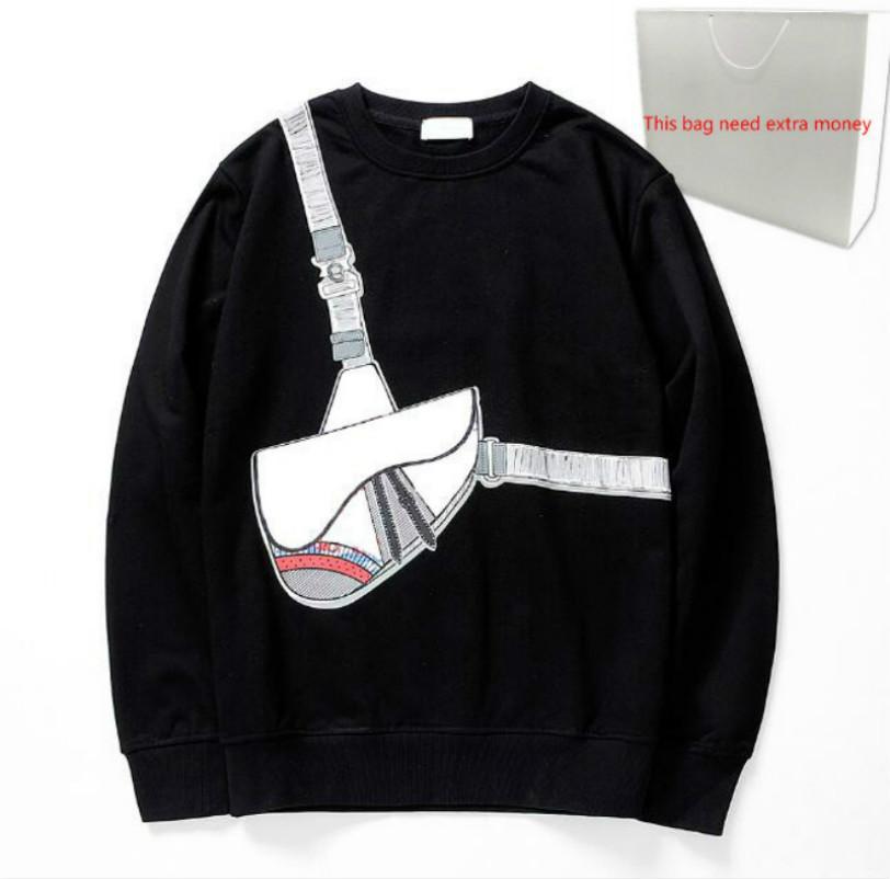 202O 패션 크로스 백 프린트 후드 20FW 남성 스웨터 남성 스웨터 봄 풀오버 스트리트 후드 옴므 2 색상에 대한