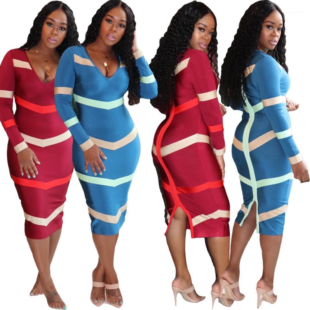 BODYCON Elbiseler Giyim Çizgili Bayan dizayn edilmiş elbiseler Geri Fermuar Uzun Kollu V Yaka Bölünmüş Elbise Sonbahar Casual Kadınlar