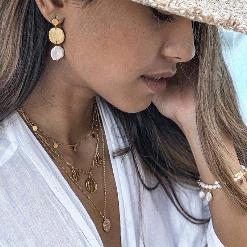 17IF Layered Halsketten für Frauen-Ketten-Halskette Boho Goldketten für Frauen hängende Chocker Halsketten-gesetzte modische Schmucksachen zkSE #