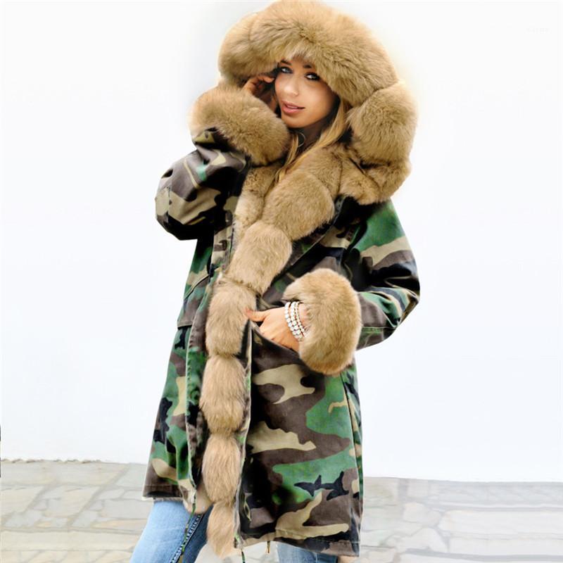 Kleidung Winter-Pelz-Mäntel der Frauen plus Größe mit Kapuze Camouflage dünne lange Frauen Oberbekleidung Designer Dick Weiblich