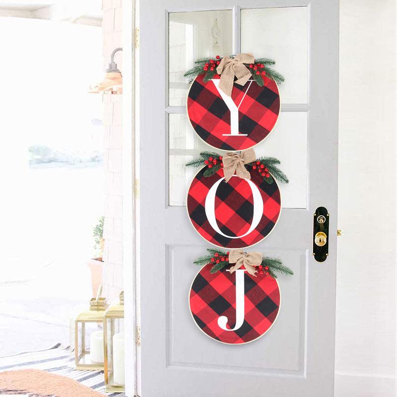 Cyuan 3pcs Decoração de suspensão do Natal, Alegria, Sinal Coroa de flores de madeira com manta Capa Decorações de Natal para Casa Noel 2021