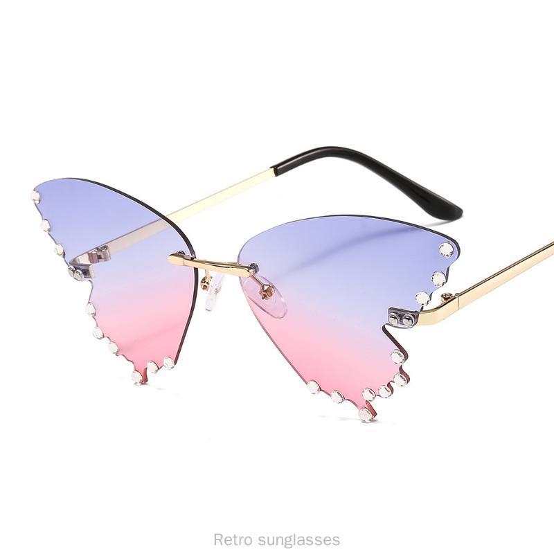 2020 hombres lentes de sol Lentes de sol sin marco gato mujeres de la marca de la vendimia pequeño óvalo Partido Eyewear UV400 FML