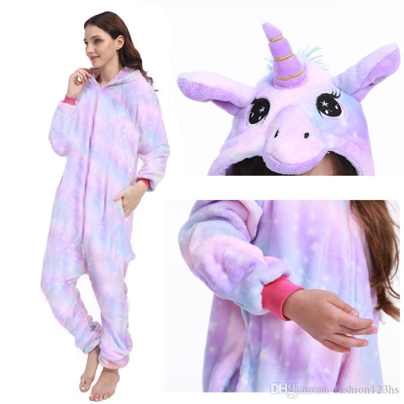 Nueva unicornio pijamas onesie Mujeres Kugurumi panda Invierno pijama de franela de Kigurumi Camisón adulto unicornio puntada ropa de noche Overalls13