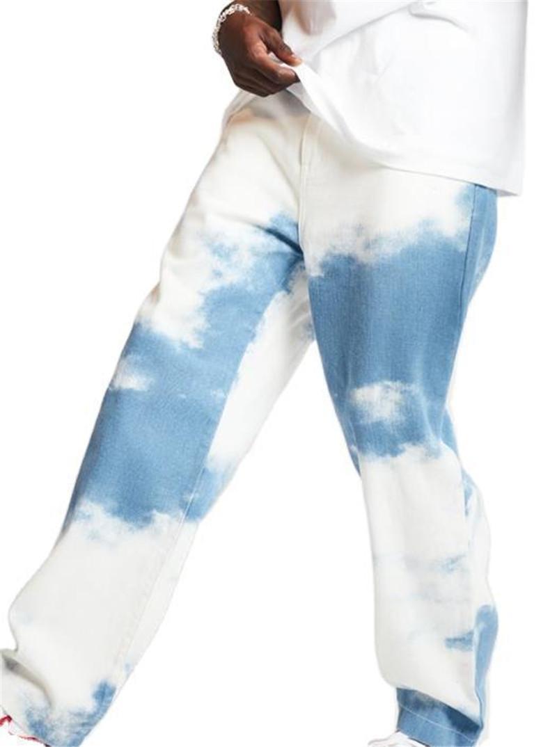 Blanqueada lavado Tie Dye jeans de moda de alta Wasit recto flojo Pantalones para hombre otoño Deisnger ropa de gran tamaño