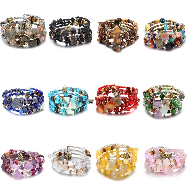 Boemia Bracciali perline di pietra Umka per Crystal Tibetan Women Vintage etnici in rilievo Wrap fascino del braccialetto del Gioielli