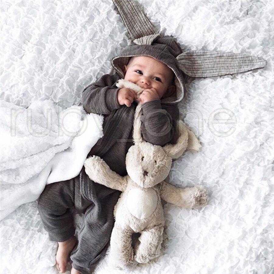 الوليد الطفل السروال القصير آذان الأرنب الأطفال نيسيس الملابس سستة مقنعين طفل رومبير الرضع ارتداءها حللا كيس النوم RRA3572