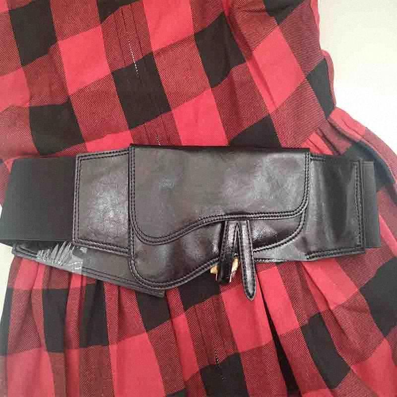 Cosmicchic D Brief Frauen Echtes Leder Breite Gürtel elastische hohe Taillen-Gürtel-Metall Brief Femme 2019 beiläufige Cummerbunds Zzhe #