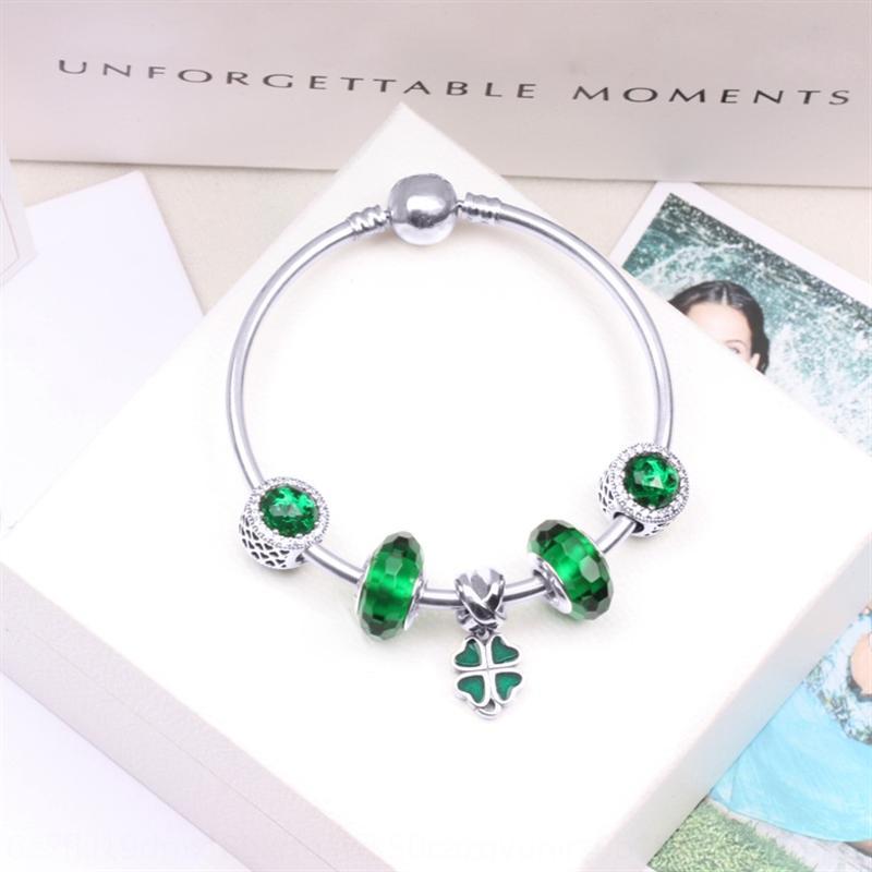 AQg16 Pan Jia S925 verre oeil de chat vert en argent sterling Diy braceletbeads bracelet bricolage avec des perles série vert bracelet fini