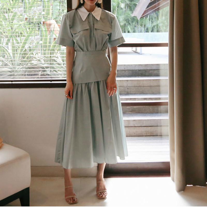 Kore Yaz Yeni Kadınlar Uzun Elbise Pamuk Zayıflama Yüksek Bel Bayan Elbise Moda Günlük Kısa Kollu Yaka Elbise XX040
