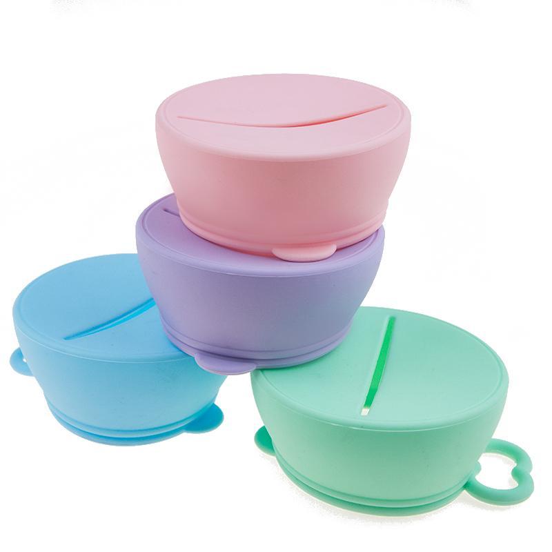 Bébé en silicone anti-éclaboussure Tasse de verre Couvercles couverture Approuvé par la FDA Pliable bébé Snack pour les enfants Les enfants Bowl