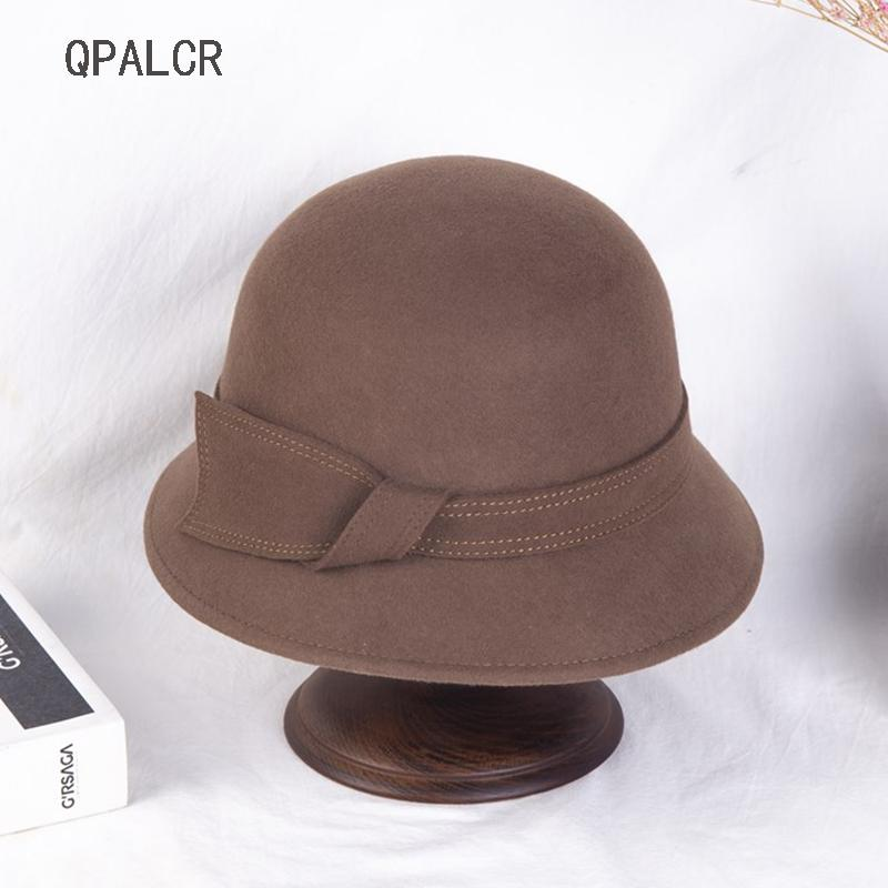 QPALCR 2020 Wool New Inverno Fedoras Chapéus para mulheres elegante chapéu de feltro Feminino Sólidos Dome clássico Topper chapéus vermelhos Chapéu Panamá