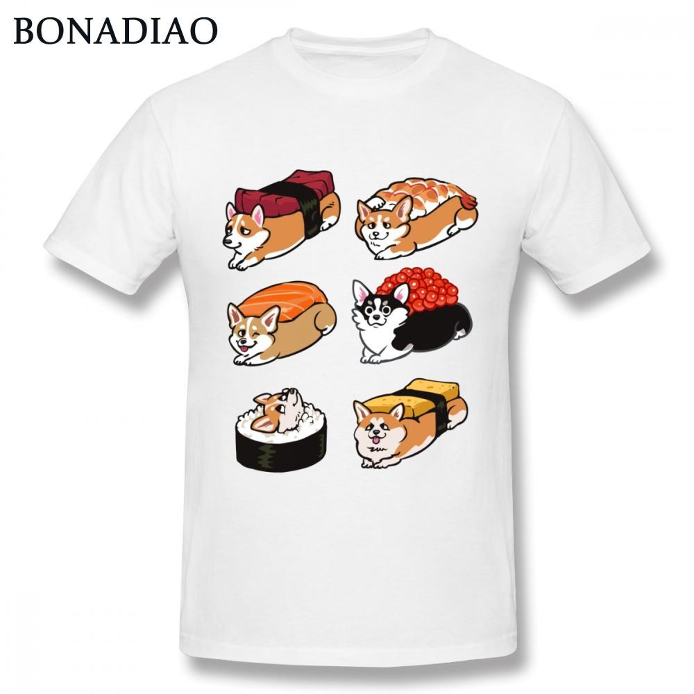 Gola redonda 3D Imprimir Sushi Corgi Tee masculino Camiseta S-6XL Homme Camiseta Plus Size Hot venda Chegada Nova Tees