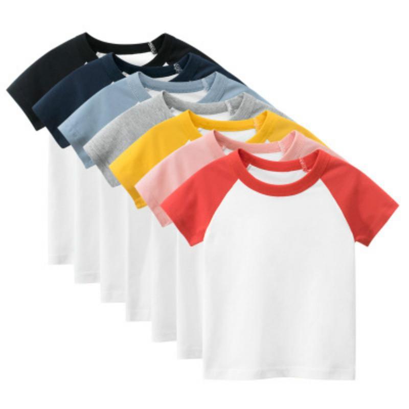 2020 Qualitäts-Plain T-Shirts Kinder Sommerkleidung oben für Junge Mädchen Kleinkind Kinderkleidung Teenager Baumwolle weiß rot Kinder Kurzarm
