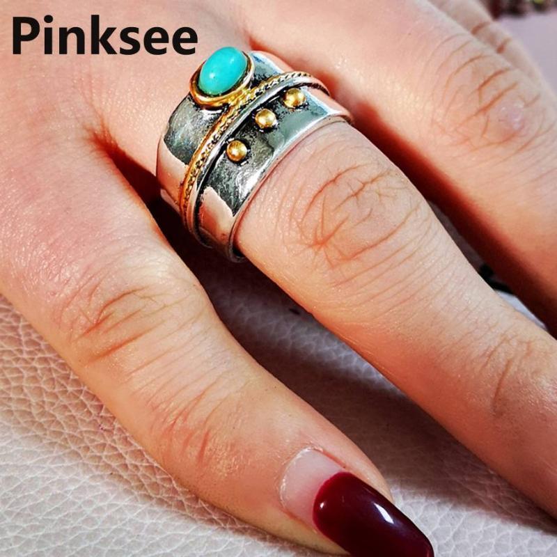 Bohemia Ring для мужчин Урожай Кольцо Панк Классический Зеленый Бисером Смола Кольца Палец Для Женщин Мода Обручающие Ювелирные изделия SZ 6-10