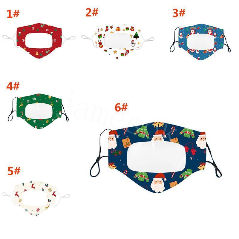 Weihnachten Lippen Sprache Maske Deaf Mute Masken wiederverwendbare Staubdichtes Breathable Lippen Sprache Maske Weihnachten Druck Designer Mask IIA661