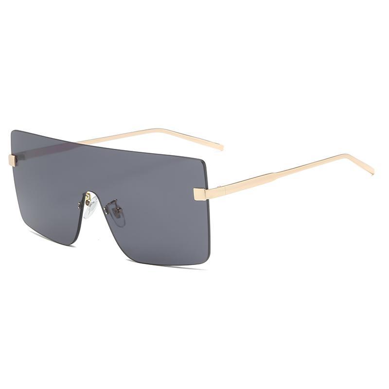 Sun квадратные очки металлические бренд бренда большие кусочки солнцезащитные очки роскошный панк RIMLELET RIMENT RETRE UV400 женщины плоские очки Oculos One CQKUD