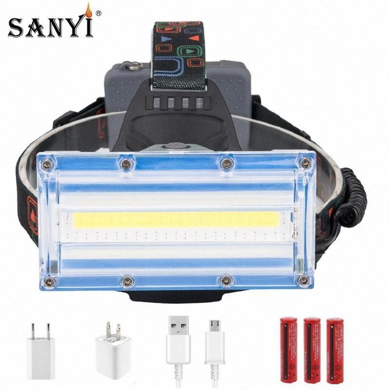 Luz principal sanyi COB LED linterna 3 Modos Rojo Azul USB lámpara recargable 18650 faro para la pesca que acampa Z514 #