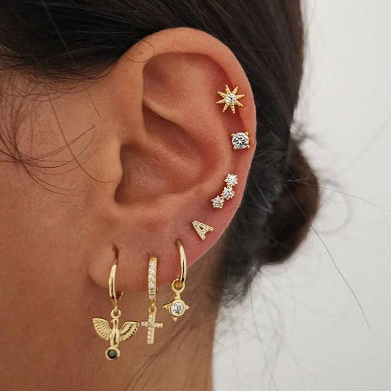 Kinfolk Gold Small-Kreuz-Band-Ohrringe für Frauen Ohrclip Band-Ohrring baumeln Bolzen-Damenmode-Schmuck Ohrringe Set 2020 kdrP #