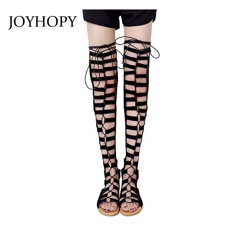 Botas joyhopy nubuck cuero gladiador sandalias de gamuza de la moda para mujer muslo alto verano hueco sobre la rodilla plana wp1350