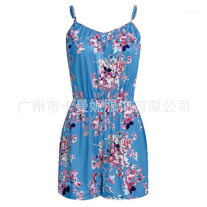 Weiblicher Pompers Sommer Backless Entwerfer-Dame Kleidung Plus Size Womens Floral Overall reizvolle Art Ärmel Lockerte
