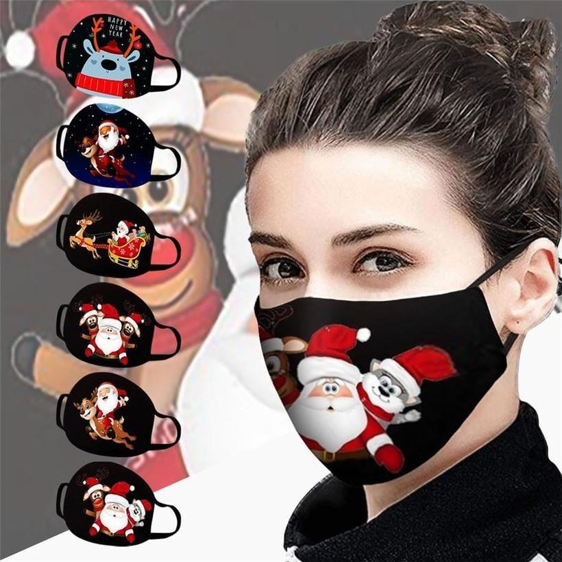 3D Rakam Baskı Noel Noel Baba Parti Maskeler Yeniden Yıkanabilir Nefes Pamuk Yüz Kapak Ağız Anti Toz Moda Noel Maskeleri
