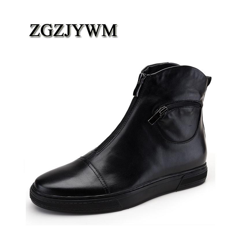 ZGZJYWM New Luxury Sapato de bico fino Zip Ankle preto / vermelho de couro genuíno Homens da motocicleta botas de visita do casamento Para High Top Botas Homem