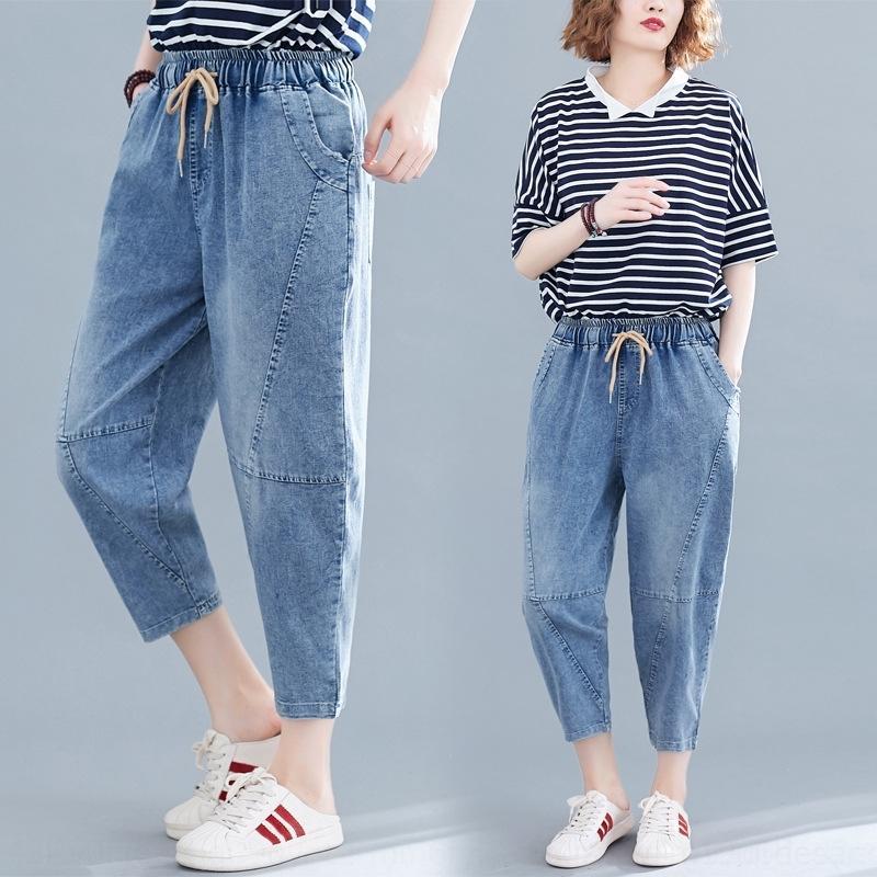 8Eahp 2020 Harlan neue künstlerische beiläufige lose große Taille Kleidung der Frauen Fett MM Allgleiches elastischen Jeans Sommer und Größe Jeans