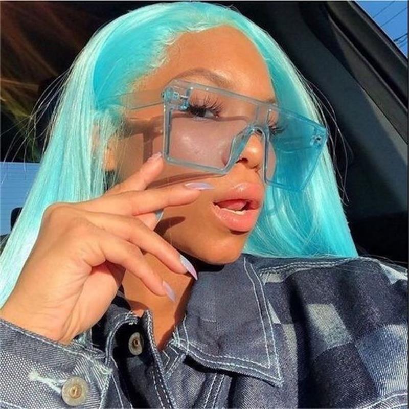 Candy Square Gafas de sol Tendencia Color Moda Plano Top Hombres Versátil Mujeres Mujeres Sunglases Extranjero 2020 Sombras Pwijl