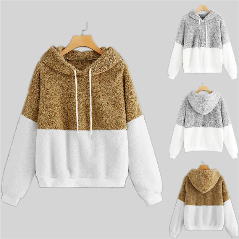 polerones موهير 2020 هوديس النساء الدافئة عارضة طويلة الأكمام اللون كتلة المرقعة Sweatershirt بلايز moletom feminino