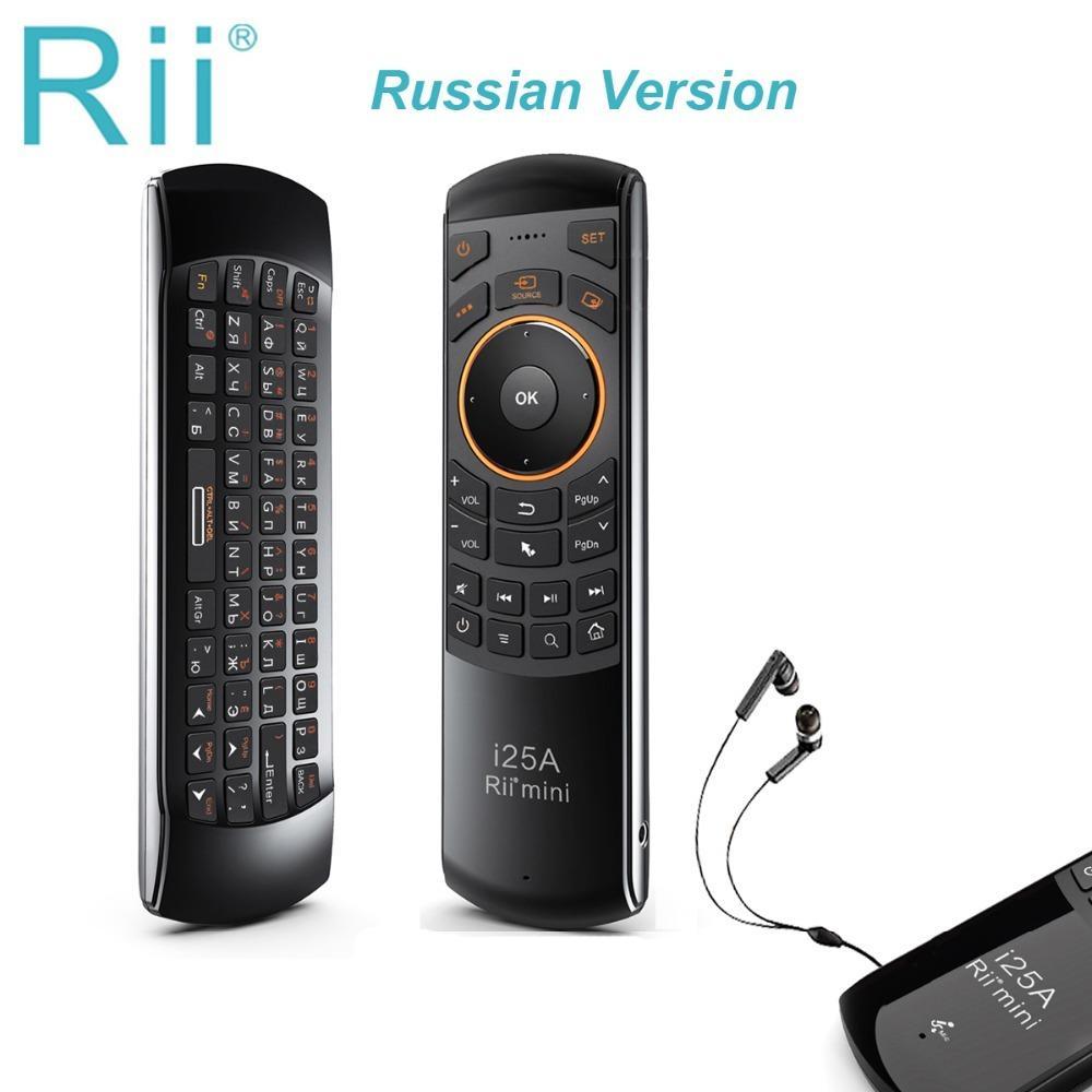 Rii 2. Mini Kablosuz Klavye Hava Fare Uzaktan Kumanda Ile Kulaklık Jack Ile Akıllı TV Android TVBOX Firetv 210315