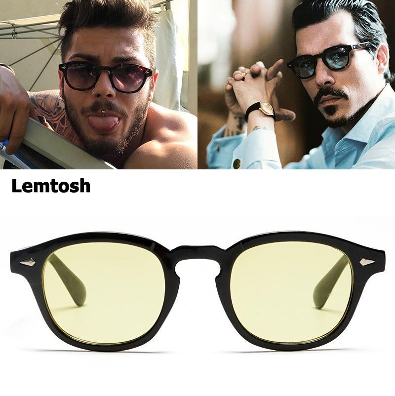 occhiali da sole polarizzati John Depp Lemtosh moda stile JackJad Ocean, occhiali da sole rotondi classici con brand design