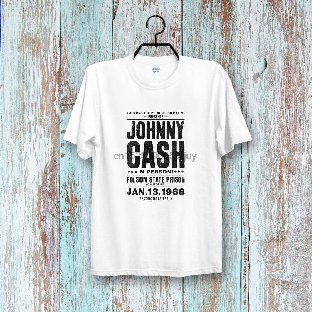Johnny Cash Folson State Prison Gig Poster Tee Top Retro CooL Vintage Style Unisex & Ladies T shirt 166B