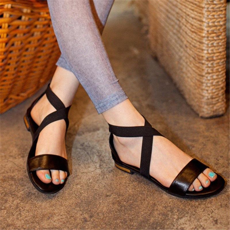 MORAZORA Tamanho 31 46 2019 New Genuine sapatos de couro Mulher Sandálias Zip Verão Black Red Shoes Casual Ladies plana Sandals Feminino Buqw #