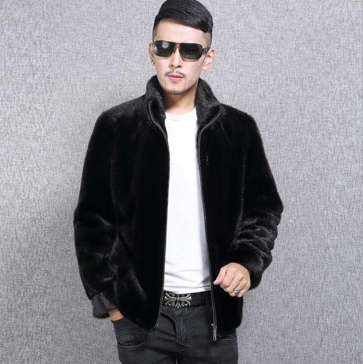 Stand collar faux mink fur leather jacket mens warm fur leather coat men loose jackets winter autumn thicken jaqueta de couro m275