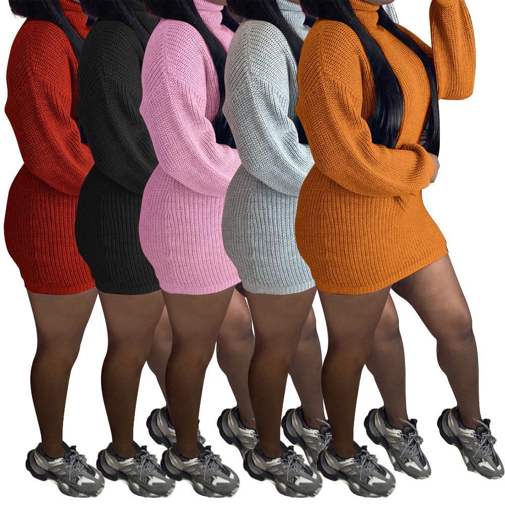 2020 Automne Hiver Femmes manches longues récent pull en tricot Robes de mode col roulé Sexy Lady Mini robe moulante de haute qualité