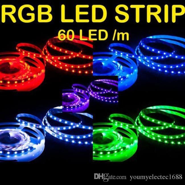 cgjxs flexible Rgb Multi -Color luz de tira llevada dc 12 150 300 LED para no Impermeabilice / impermeable SMD 5050 llevó la luz de tira de 5m rollo