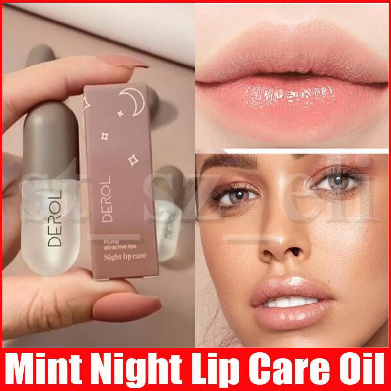 Derol Mint Night Lip Care Plumper Collagen Plumping Gloss Moisturizer Repair Lip Extreme Volume Lips Enhancer Makeup 5.5ml