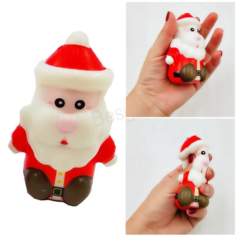 Christmas PU Slow Rebound Toys Printed Santa Claus Decompression Toy Funny Prop Kids Squeeze Elk Toy Xmas Gift Relief Toys BH347 TQQ